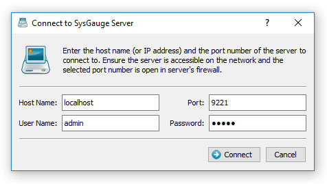 SysGauge Server Connect Dialog