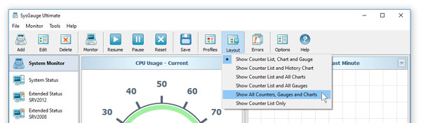 SysGauge GUI Layout Menu