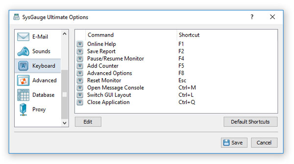 SysGauge Keyboard Shortcuts Options