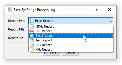 SysGauge Save Process Monitor Logs