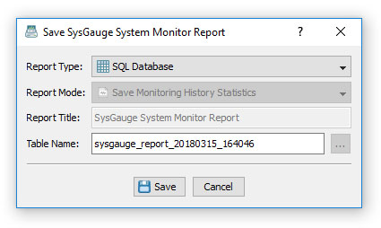 SysGauge Save Database Report